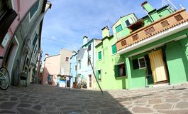 Beautiful colorful houses on the island of BURANO near Venice Stock Photography