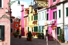 Beautiful colorful houses on the island of BURANO near Venice Royalty Free Stock Photography
