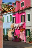 Beautiful colorful houses on the island of BURANO near Venice Royalty Free Stock Photos