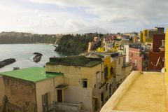 Beautiful colorful houses in the island of Procida, Italy. stock image