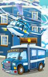 Cartoon happy and funny police car and helicopter Royalty Free Stock Photo