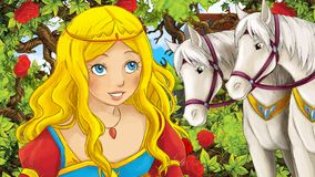 Cartoon scene of beautiful princess in the garden with white horses   Royalty Free Stock Images