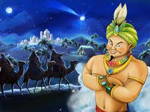 Cartoon scene of handsome prince or magician looking on three travelers on camels Royalty Free Stock Photography