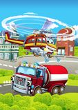 Cartoon stage with different machines for firefighting - truck and helicopter - colorful and cheerful scene. Beautiful and colorful illustration for children Stock Photography