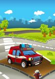 Cartoon stage with truck for fire fighting - colorful and cheerful scene Royalty Free Stock Photo