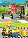 Cartoon funny and happy looking child - girl in racing car on race track near the city Stock Photography