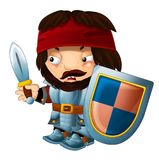 Cartoon funny knight with sword and shield - white background Royalty Free Stock Image