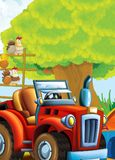 Cartoon happy and funny farm scene with tractor - car for different tasks Royalty Free Stock Images