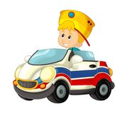 Cartoon scene with child - boy in toy car ambulance on white background Royalty Free Stock Image