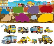 Cartoon scene with different construction site vehicles - illustration matching game for children. Beautiful and colorful illustration for children for different vector illustration