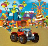 Cartoon scene with happy and funny kids on the playground and in the car cabriolet. Beautiful and colorful illustration for children for different fairy tales Royalty Free Stock Images