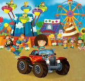 Cartoon scene with happy and funny kids on the playground and in the car cabriolet. Beautiful and colorful illustration for children for different fairy tales Stock Photography