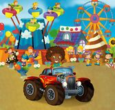 Cartoon scene with happy and funny kids on the playground and in the car cabriolet. Beautiful and colorful illustration for children for different fairy tales Royalty Free Stock Photo