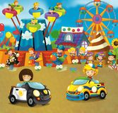 Cartoon scene with happy and funny kids on the playground and in the car cabriolet. Beautiful and colorful illustration for children for different fairy tales Royalty Free Stock Photos