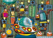 Cartoon scene with ufo vehicle in science fiction factory Royalty Free Stock Photo