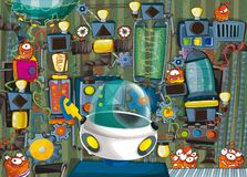 Cartoon scene with ufo vehicle in science fiction factory Stock Photos