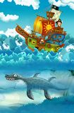 Pirates on the sea - battle - with monster underwater Vector Illustration