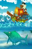 Pirates on the sea - battle - with monster underwater Stock Illustration