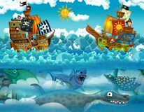 Pirates on the sea - battle - with monster underwater Royalty Free Stock Photo