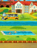 Cartoon scene with children swimming in a pool training Stock Image
