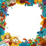 Cartoon scene with coral reef and mermaid - space for text royalty free illustration