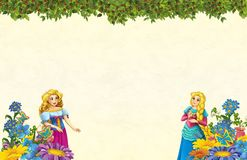 Cartoon scene with floral frame - beautiful girls - princesses - title page with space for text. Beautiful and colorful illustration for the children - for royalty free illustration