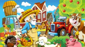 Cartoon scene with happy animals on the farm - with tractor for different tasks Stock Images