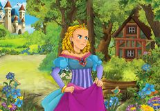 Cartoon scene with some beautiful girl in forest wooden hut royalty free stock image
