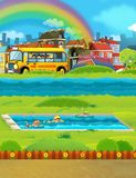 Cartoon scene with children swimming in a pool training Stock Photos