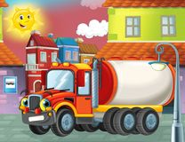 Happy and funny cartoon cistern truck looking and smiling driving through the city or parking near the garage Royalty Free Stock Images