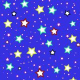 Colorful Stars illustration on Blue background Royalty Free Stock Photo