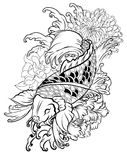 Beautiful, colorful Koi carp with water splash, lotus and peony flower. royalty free illustration