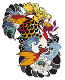 Beautiful, colorful Koi carp with water splash, lotus and peony flower. Traditional Japanese tattoo design. Hand drawn koi fish with flower tattoo for Arm Stock Image