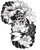 Beautiful, colorful Koi carp with water splash, lotus and peony flower. Traditional Japanese tattoo design. Hand drawn koi fish with flower tattoo for Arm Stock Photo
