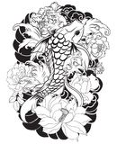 Beautiful, colorful Koi carp with water splash, lotus and peony flower. Traditional Japanese tattoo design. Royalty Free Stock Photos