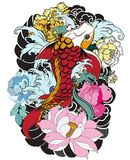 Beautiful, colorful Koi carp with water splash, lotus and peony flower. Traditional Japanese tattoo design. Hand drawn koi fish with flower tattoo for Arm Stock Photography