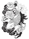 Beautiful, colorful Koi carp with water splash, lotus and peony flower. Traditional Japanese tattoo design. Hand drawn koi fish with flower tattoo for Arm Stock Photos