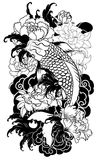 Beautiful, colorful Koi carp with water splash, lotus and peony flower. Traditional Japanese tattoo design. Hand drawn koi fish with flower tattoo for Arm Royalty Free Stock Photography