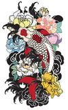 Beautiful, colorful Koi carp with water splash, lotus and peony flower. Traditional Japanese tattoo design. Hand drawn koi fish with flower tattoo for Arm Royalty Free Stock Image