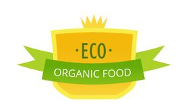 Eco-friendly natural products in food market, farm, biological labels, tags. Beautiful colorful labels, badges, healthy eco organic food. Eco-friendly ecology stock illustration