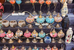 Beautiful colorful lamps arabic style of decorating Royalty Free Stock Photos