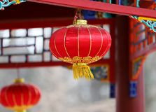 Lanterns in chinese temple stock image