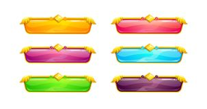 Beautiful colorful long horizontal buttons. With golden border. Vector assets for web or game design. Decorative GUI elements, isolated on white background Royalty Free Stock Photos