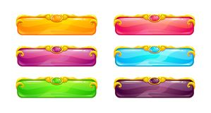 Beautiful colorful long horizontal buttons. With golden border. Vector assets for web or game design. Decorative GUI elements, isolated on white background Stock Photo