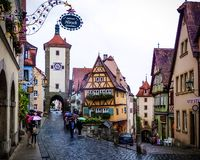 Storybook medieval town of Rothenburg ob der Tauber on a rainy day. stock photo