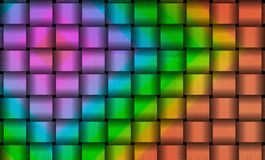 Colorful metallic squares background. Beautiful colorful metallic geometric pattern of interwoven squares in abstract background. rainbow colored creative design Stock Photos