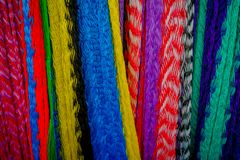 Beautiful and colorful Mexican fabrics for sale at market, Latin America, fabric background.  Stock Images