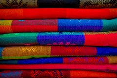 Beautiful and colorful Mexican fabrics for sale at market, Latin America, fabric background.  Royalty Free Stock Photography