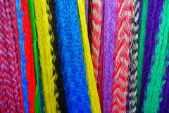 Beautiful and colorful Mexican fabrics for sale at market, Latin America, fabric background.  Stock Photography