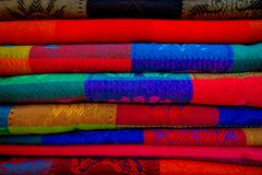 Beautiful and colorful Mexican fabrics for sale at market, Latin America, fabric background.  Royalty Free Stock Image